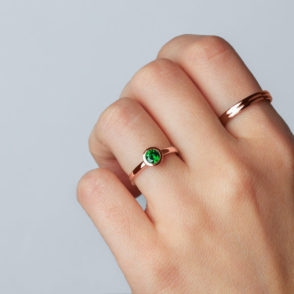 Ring Iconic Emerald Zirconia Rose Gold