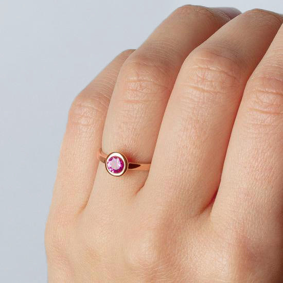 Ring Iconic Pink Zirconia Rose Gold