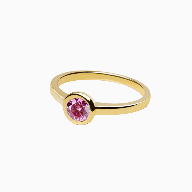 Iconic Ring Gold Zirconia Pink