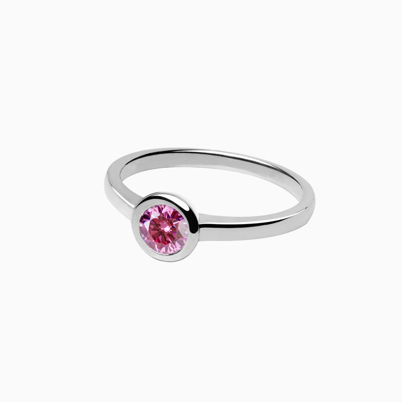 Iconic Ring Silver Zirconia Pink
