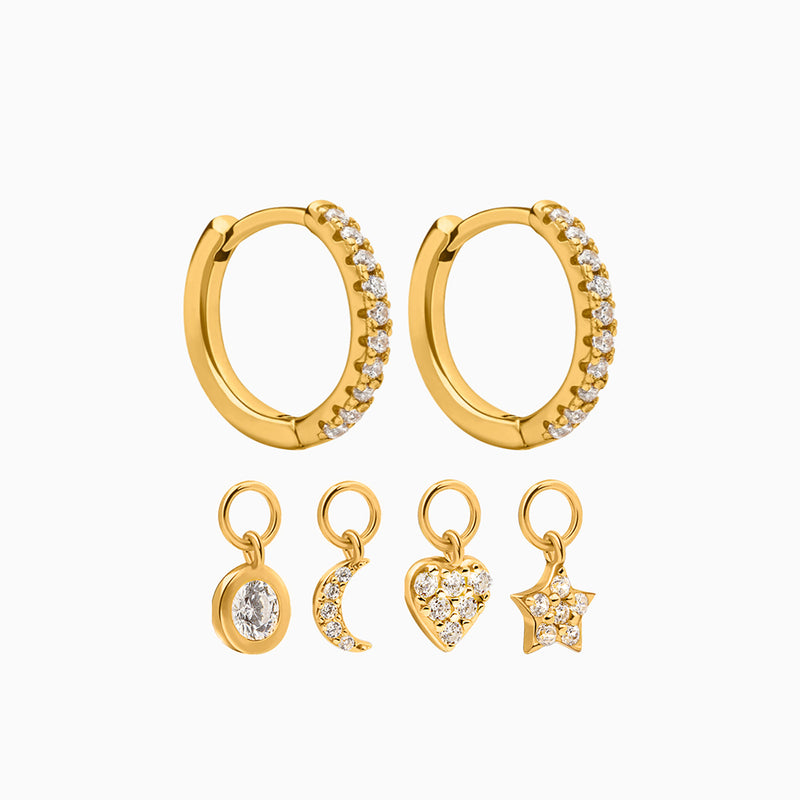 4 Charms Hoop Earrings Gold