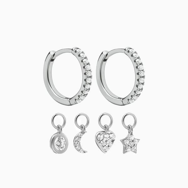 Earrings 4 Charms Silver