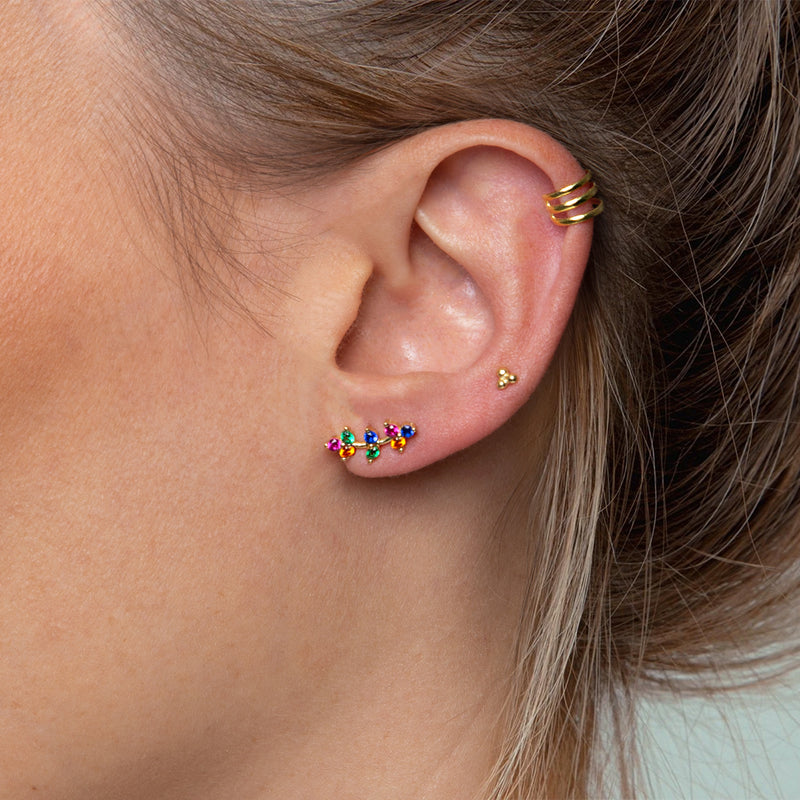 Mini Climber Multicolor Zirconia Gold Earring