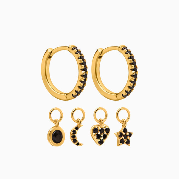 4 Charms Black Hoop Earrings Gold