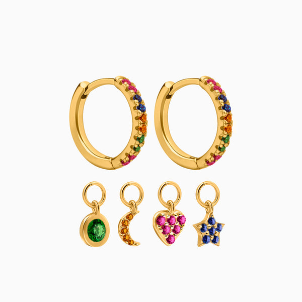 4 Charms Multicolor Hoop Earrings Gold