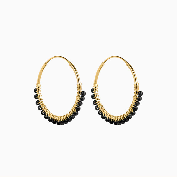 Paradise Nero Hoop Earrings Gold