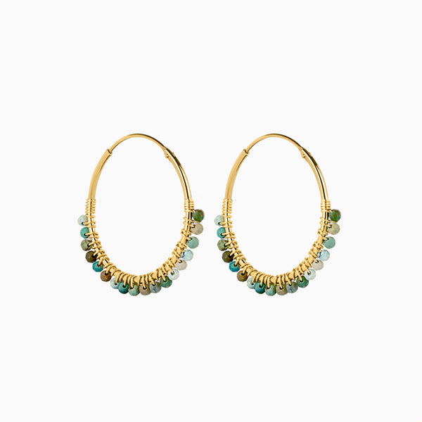Paradise Aqua Hoop Earrings Gold