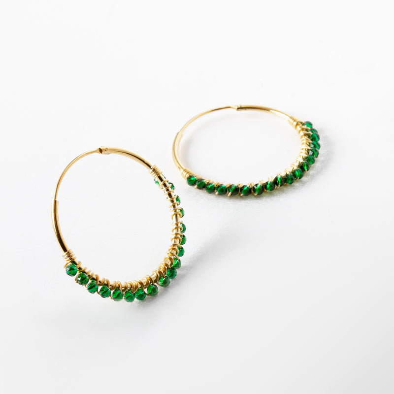 Paradise Olive Hoop Earrings Gold