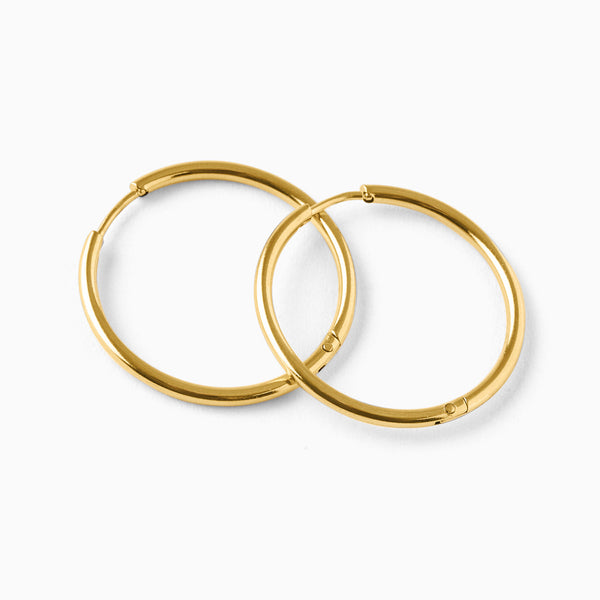 Basic Thin Hoop Earrings Gold