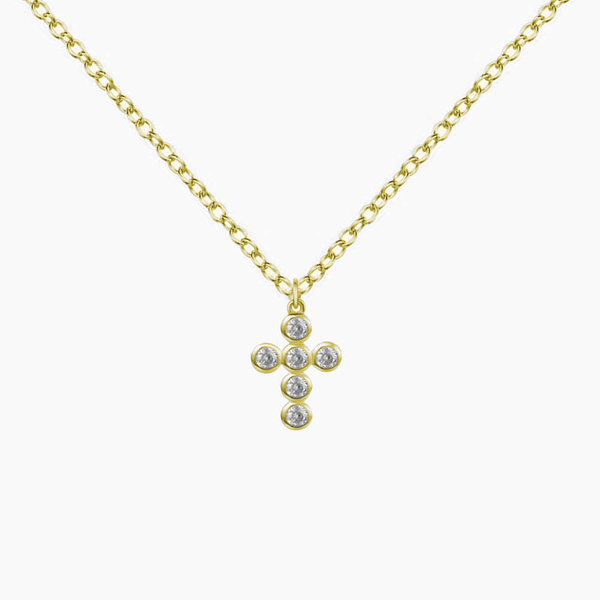 Pendant Cross Zirconias Gold