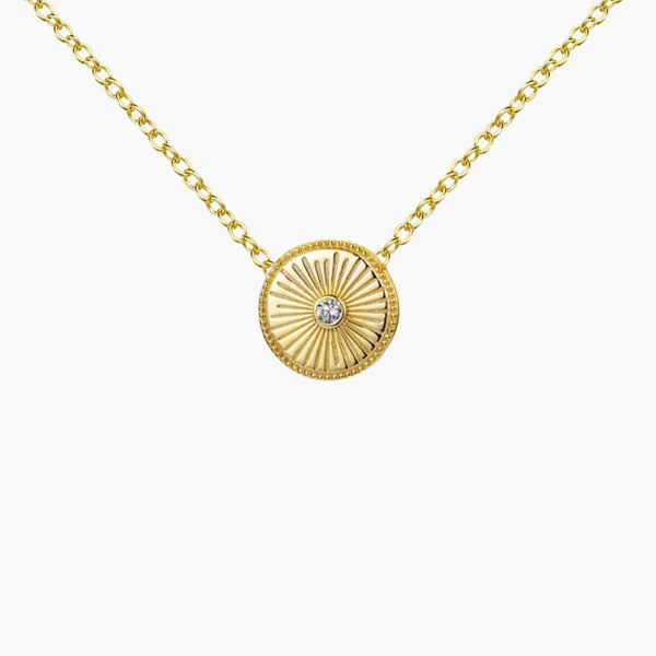 Pendant Medallion Zirconia Gold