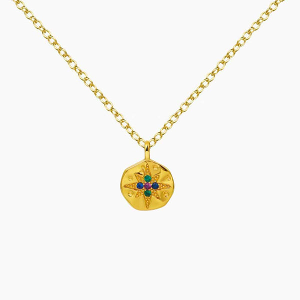 Pendant Medallion Star  Zirconias Gold