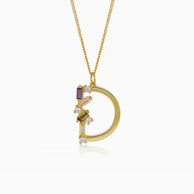 Necklace Identity Letter D Gold