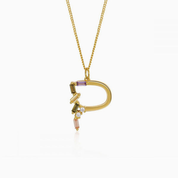 Identity Letter P Necklace Gold