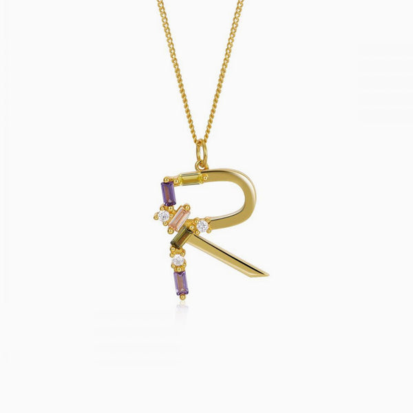 Identity Letter R Necklace Gold