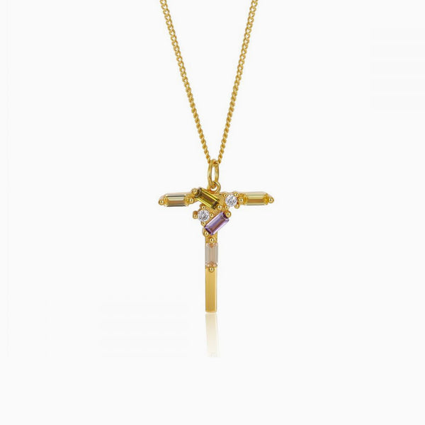 Identity Letter T Necklace Gold