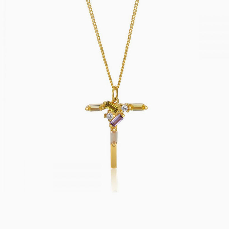Necklace Identity Letter T Gold