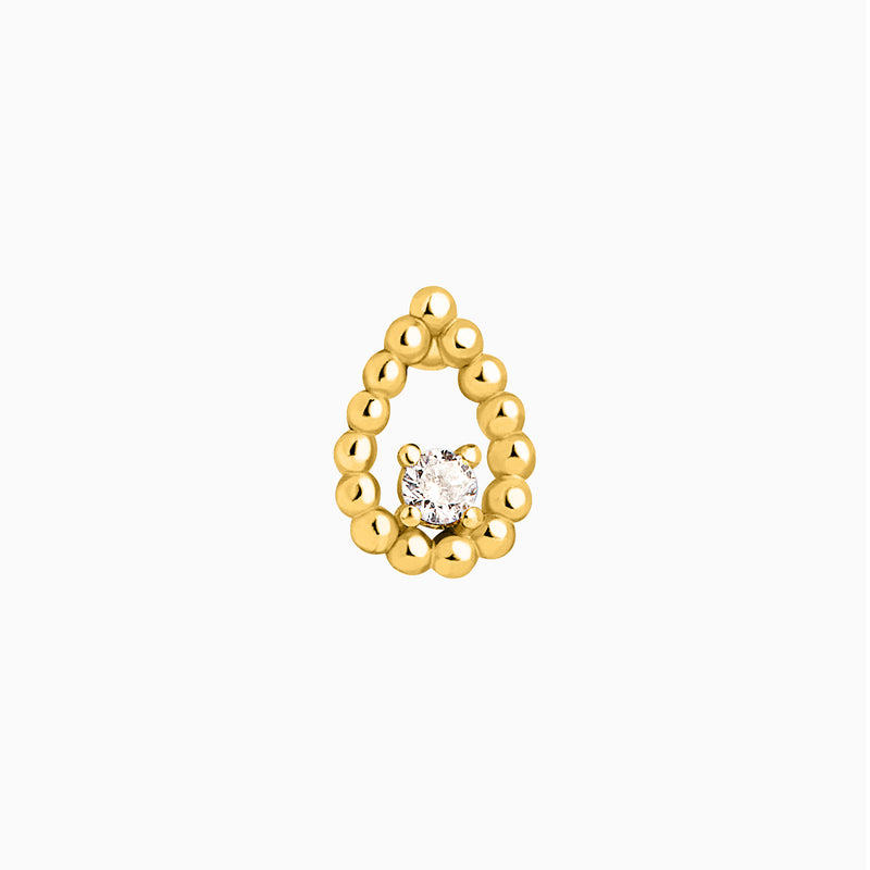 Tear Zirconia Gold Piercing