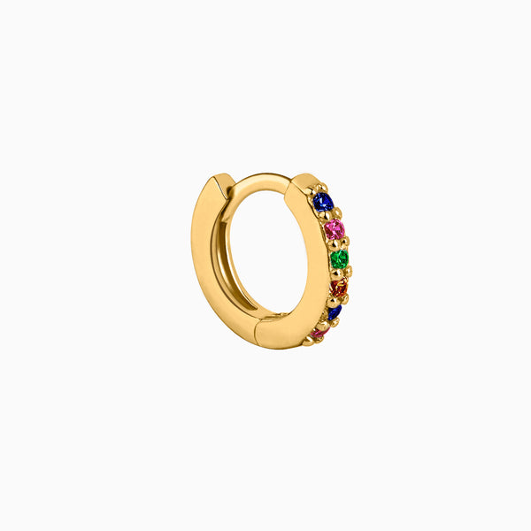Multicolor Zirconias Hoop Piercing Gold