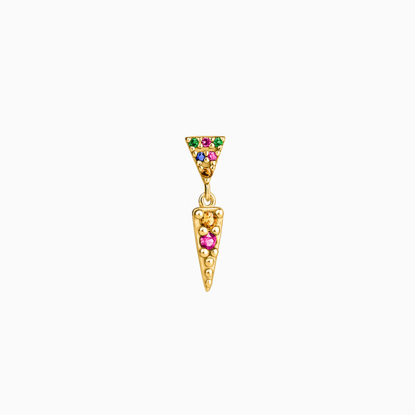 Triangle Zirconias Gold Multicolor Piercing