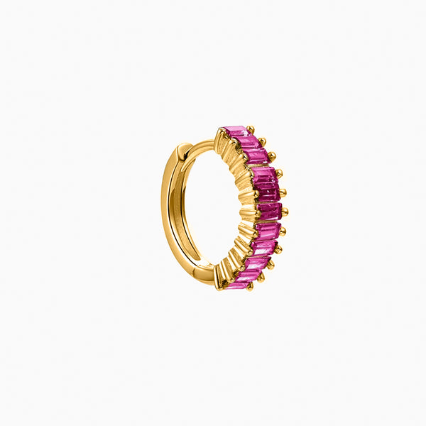 Capri Ruby Hoop Piercing Gold