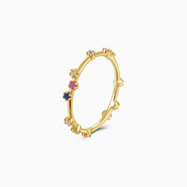 Casiopea Multicolor Zirconias Gold Ring
