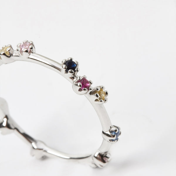 Casiopea Multicolor Zirconias Silver Ring