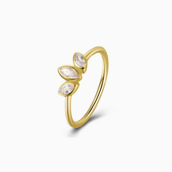 Petal Zirconias Gold Ring