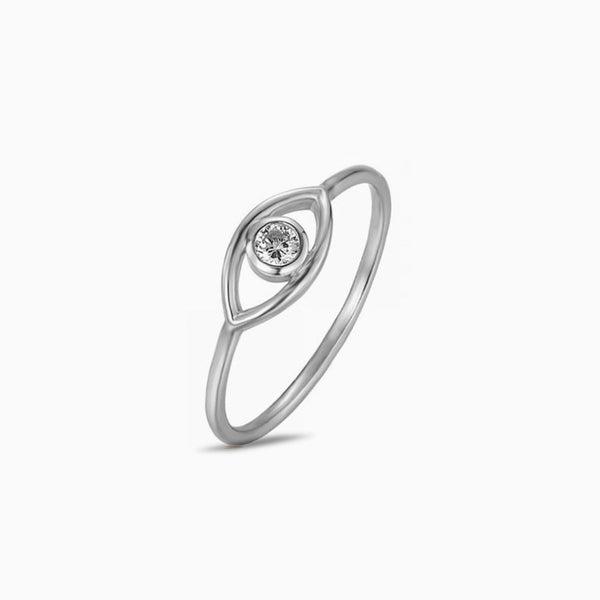 Eye Zirconia Silver Ring