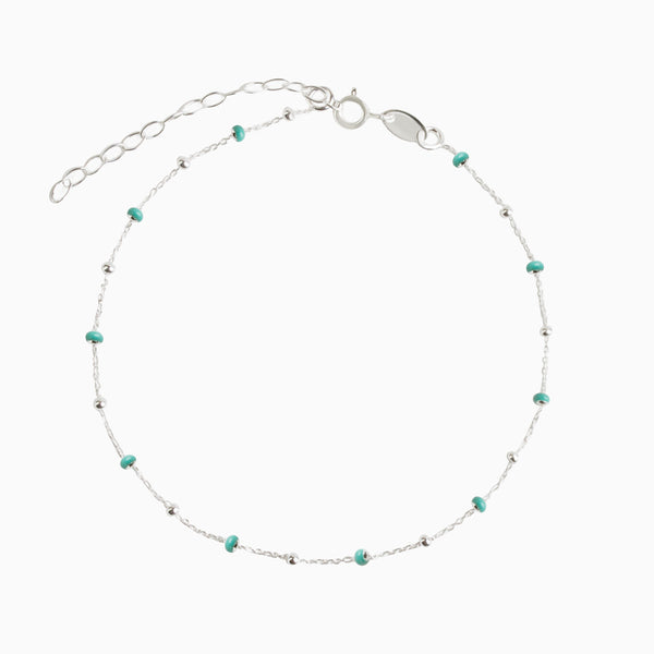 Turquoise Beads Silver Anklet