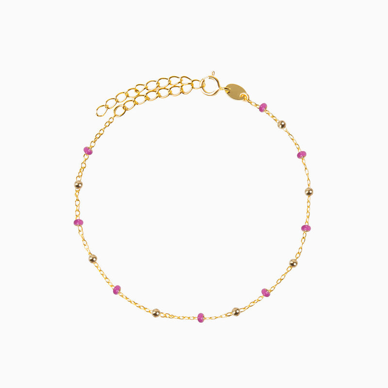 Pink Beads Charms Gold Bracelet