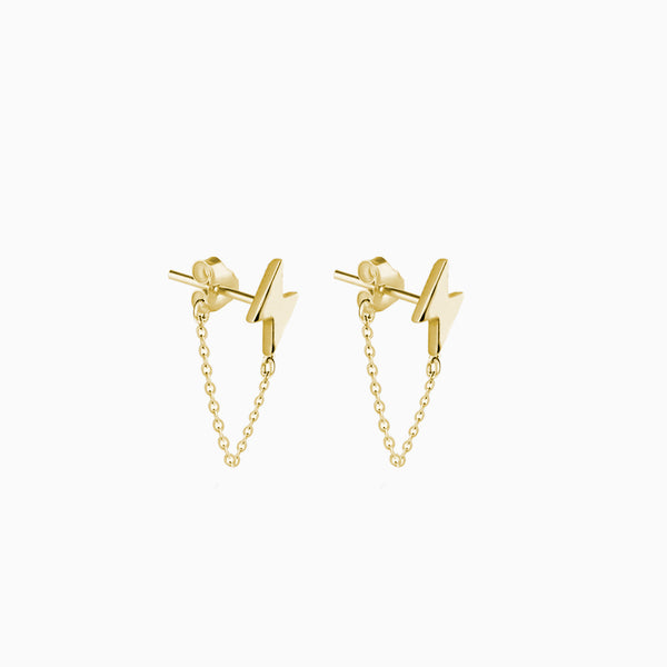Ray Chain Gold Earring