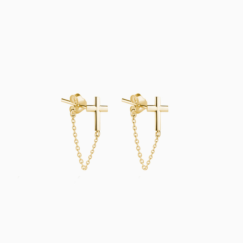 Cross Chain Earrings Gold
