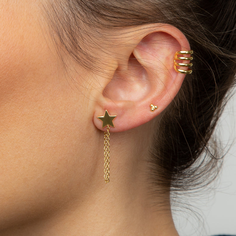 Star Chain Gold Earring