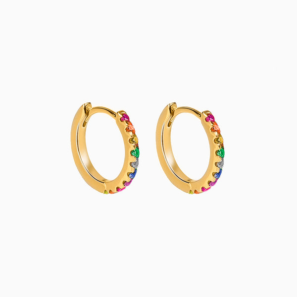 Mini Hoop Multicolor Zirconias Gold Earring