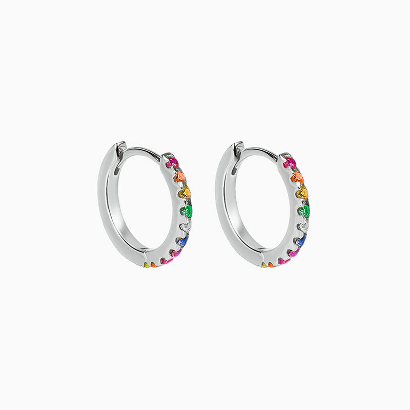 Rainbow Hoop Earrings Silver