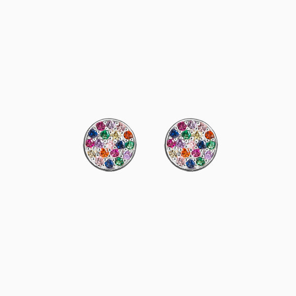 Button Rainbow Silver Earring