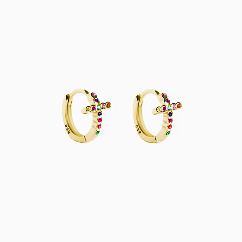 Mini Hoop Cross Multicolor Zirconias Gold Earring
