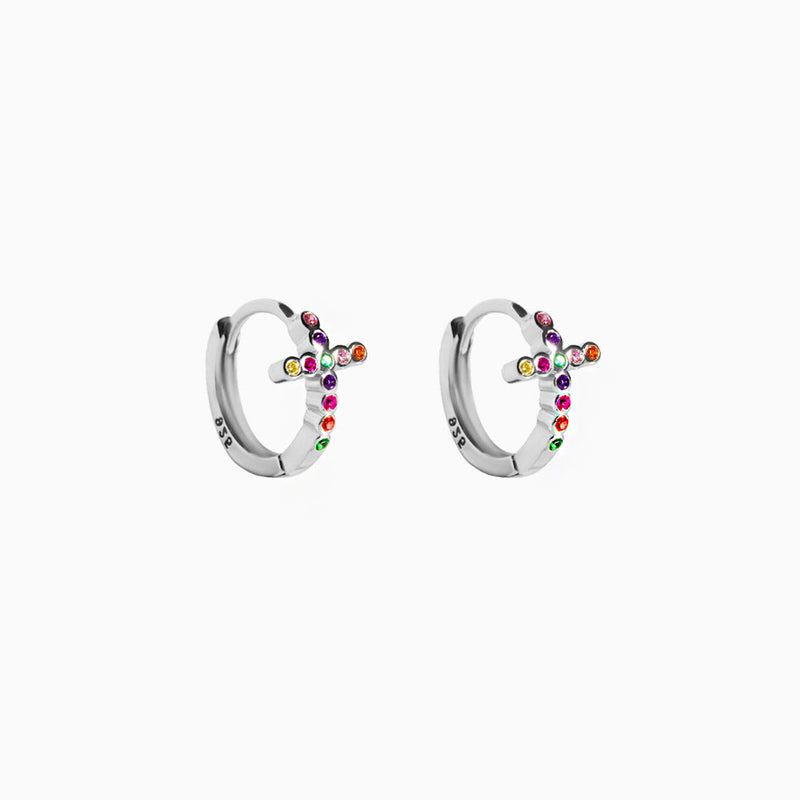 Mini Hoop Cross Multicolor Zirconia Silver Earring