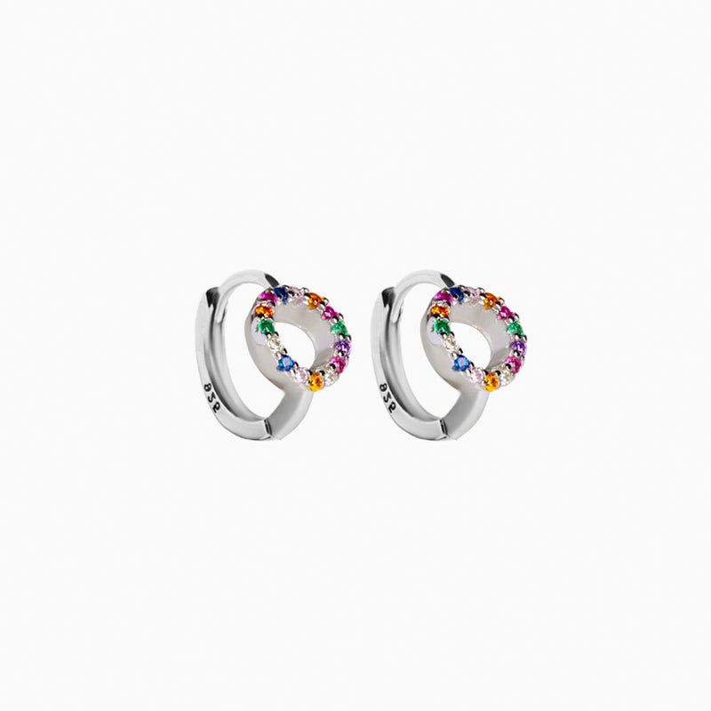 Mini Hoop Rainbow Silver Earring