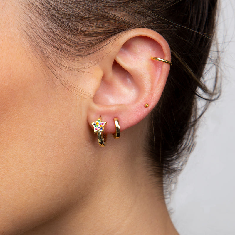 Mini Hoop Star Multicolor Zirconias Gold Earring