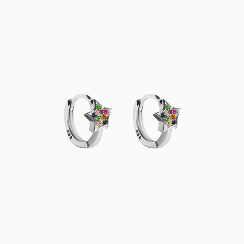 Mini Hoop Star Multicolor Zirconias Silver Earring