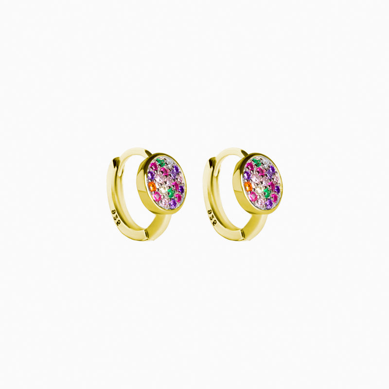 Mini Hoop Button Rainbow Gold Earring