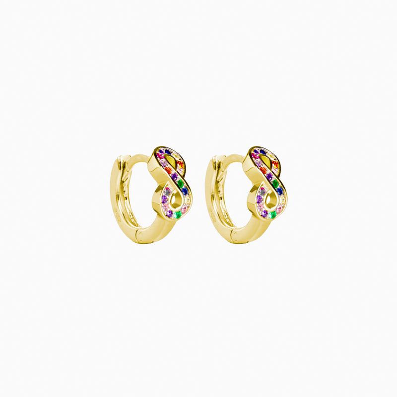 Mini Hoop Infinity Multicolor Zirconias Gold Earring