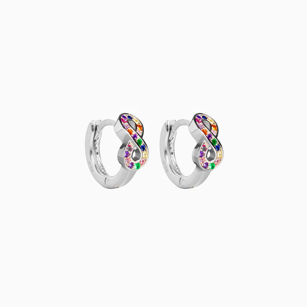 Infinity Multicolor Hoop Earrings Silver