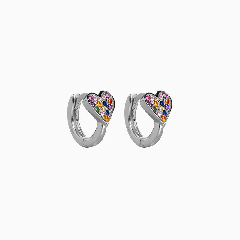 Heart Multicolor Hoop Earrings Silver