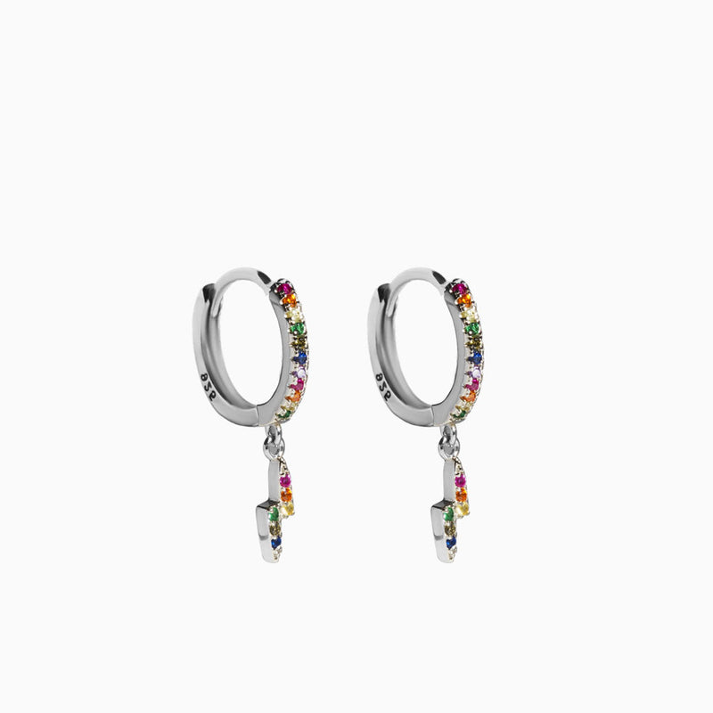 Mini Hoop Ray Multicolor Silver Earring