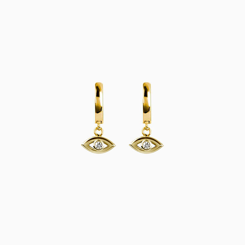 Eye Zirconia Gold Ring Earring