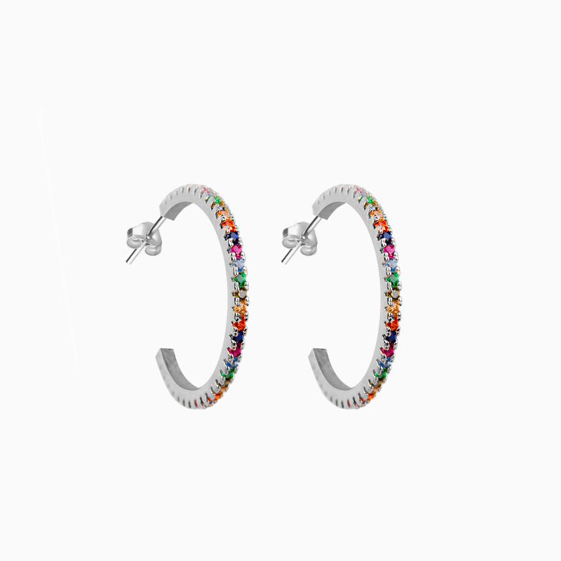 Multicolor Zirconias Medium Silver Hoop Earrings