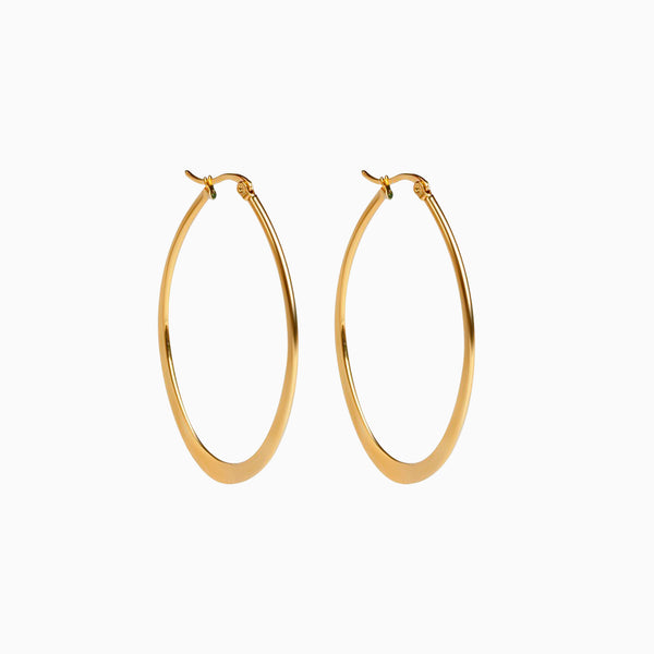 Oval Hoop Earrings Gold